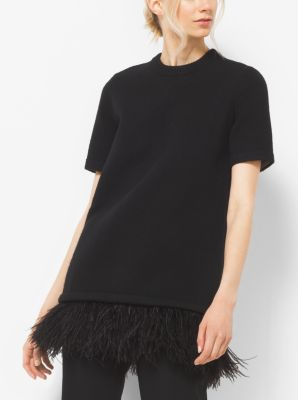Ostrich Feather-Embroidered Cashmere T-Shirt by Michael Kors