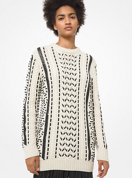 Michael Kors LEATHER TRIM HAND-KNIT CASHMERE ARAN SWEATER