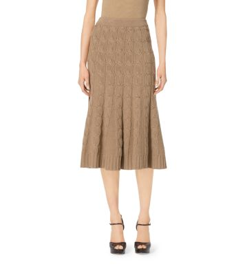 Wool and Cashmere Aran Trumpet Skirt by Michael Kors