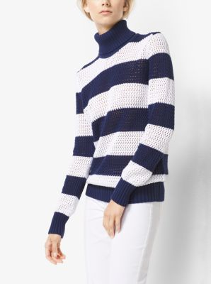 Striped Cotton-Mesh Turtleneck by Michael Kors