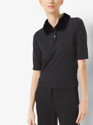 Mink-Collar Cashmere Polo by Michael Kors