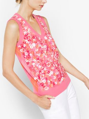 Floral Sequined Cashmere Vest by Michael Kors
