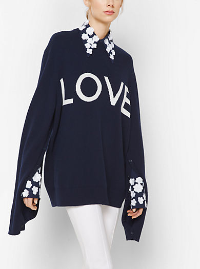 Love Intarsia Cashmere Oversized Pullover by Michael Kors