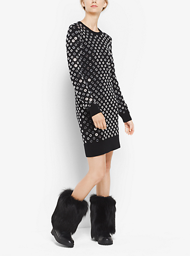 Mirror-Embroidered Cashmere Sweater Dress by Michael Kors