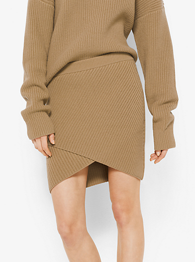 Cashmere Ribbed Surplice Skirt by Michael Kors