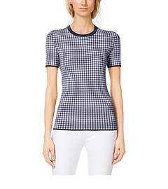 Gingham Stretch-Viscose T-Shirt
