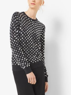 Floral-Embellished Cashmere Sweater by Michael Kors