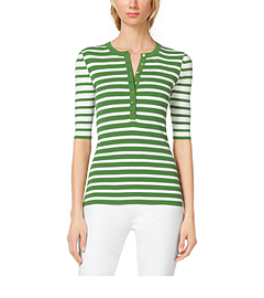 Striped Stretch-Jersey Henley