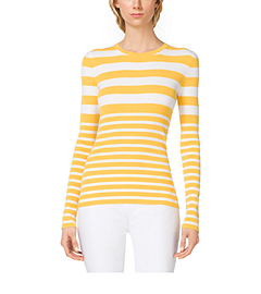Mixed-Stripe Stretch-Crepe Crewneck