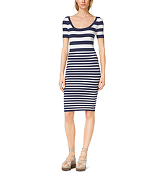 Mixed-Stripe Stretch-Viscose Dress