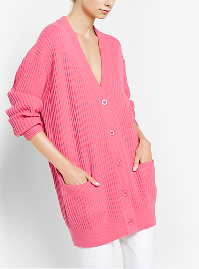 Cashmere Ribbed Cardigan by Michael Kors