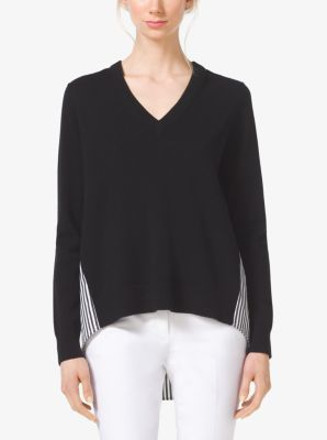 Contrast Cashmere V-Neck Sweater by Michael Kors