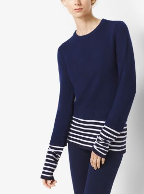 Striped Cotton and Cashmere Pullover by Michael Kors