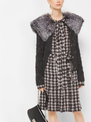 Silver Fox-Trimmed Cashmere Tweed Cardigan by Michael Kors