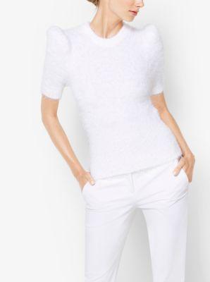 Peak-Shoulder Cotton-Blend Sweater by Michael Kors