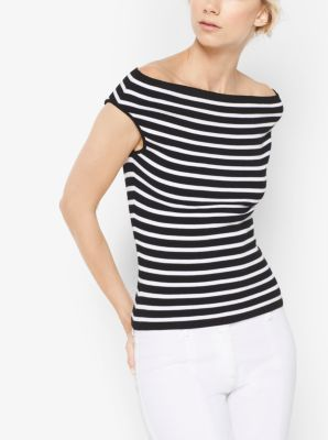 Striped Stretch-Jersey Off-the-Shoulder Top by Michael Kors