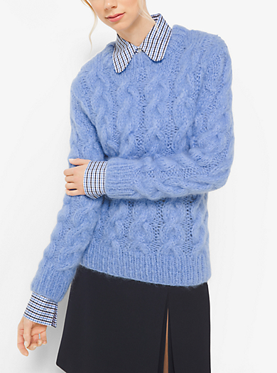 Hand-Knit Cable Mohair Sweater by Michael Kors