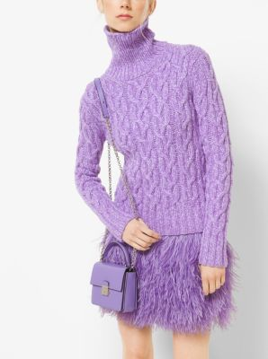 Hand-Knit Cable Tweed Cashmere Turtleneck by Michael Kors