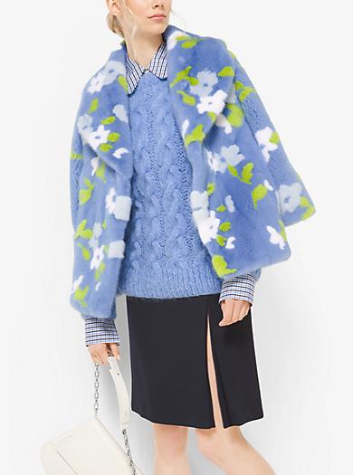 Floral Intarsia Mink Coat by Michael Kors