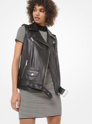마이클 마이클 코어스 조끼 Michael Michael Kors Leather Moto Vest,BLACK