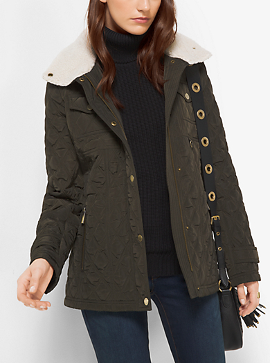 Fleece-Collared Quilted Jacket by Michael Kors