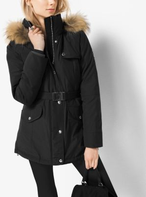 Belted Hooded Down Coat by Michael Kors