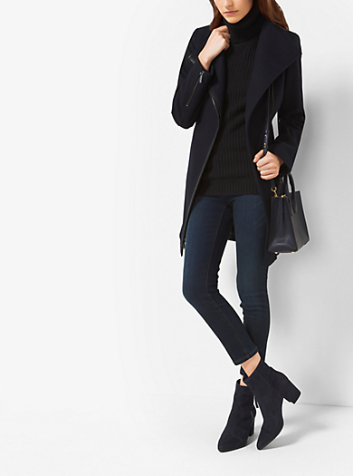 Faux Leather-Trimmed Wool and Cashmere Coat  by Michael Kors
