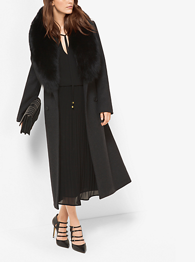 Fur-Trimmed Wool and Cashmere Coat  by Michael Kors