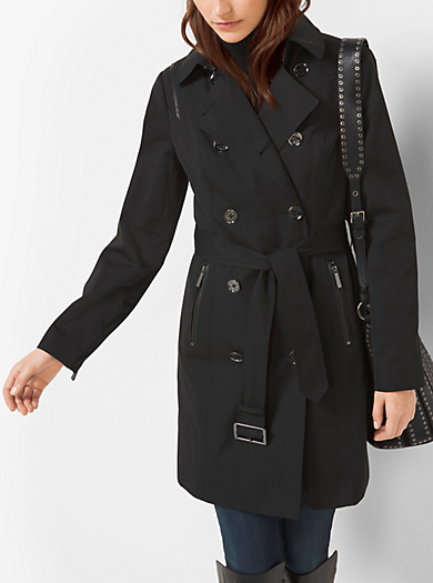 Faux Leather-Trimmed Trench Coat         by Michael Kors
