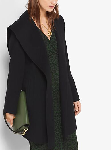 Hooded Wool-Blend Wrap Coat by Michael Kors