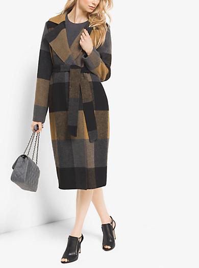 Plaid Wool-Blend Wrap Coat by Michael Kors