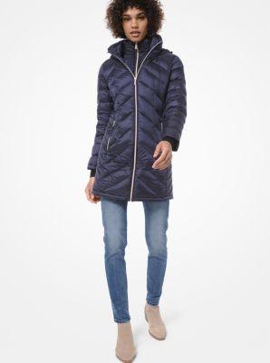 마이클 마이클 코어스 퀼팅 나일론 패커블 푸퍼 코트 - 블랙, 네이비 Michael Michael Kors Quilted Nylon Packable Puffer Coat