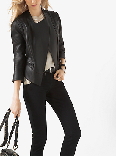 Leather and Ponte-Panel Jacket by Michael Kors
