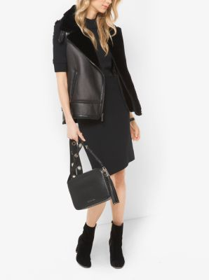 Faux-Leather and Shearling Moto Vest by Michael Kors