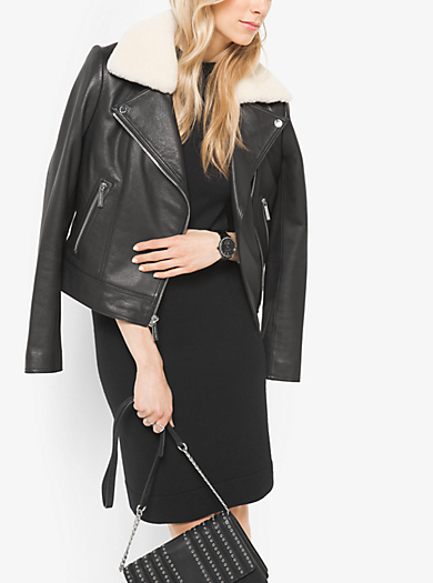 Shearling-Collar Leather Moto Jacket by Michael Kors