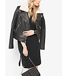 Shearling-Collar Leather Moto Jacket