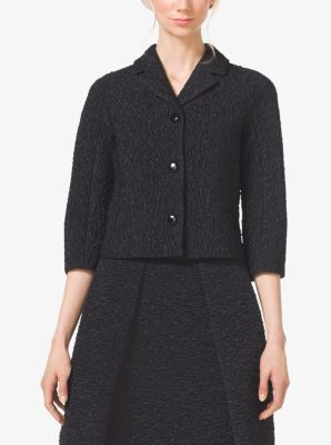 Jacquard-Cloque Cropped Jacket by Michael Kors