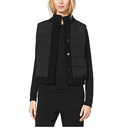 Cashmere-Trim Puffer Vest