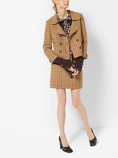 Giacca in lana double-face con motivo tattersall by Michael Kors