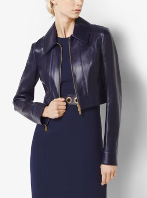 Cropped Plongé Leather Jacket by Michael Kors