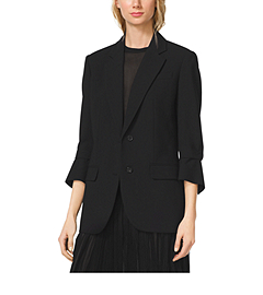 Cropped-Sleeve Wool-Serge Blazer
