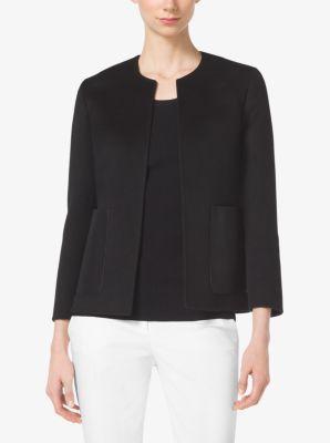 Leather-Pocket Cashgora-Melton Jacket by Michael Kors