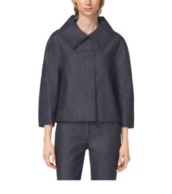 Denim Balmacaan Jacket by Michael Kors