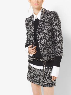 Floral Metallic-Embroidered Brocade Jacket by Michael Kors