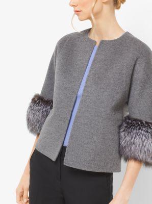 Fox Fur-Cuffed Cashgora Jacket by Michael Kors