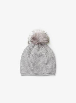 Cashmere and Fur Pom-Pom Beanie by Michael Kors