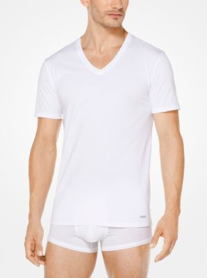 마이클 코어스 티셔츠 Michael Kors 3-Pack Performance Cotton V-Neck T-Shirt,WHITE