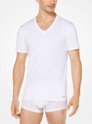 마이클 코어스 맨 브이넥 티셔츠 3팩 Michael Kors 3-Pack Performance Cotton V-Neck T-Shirt,WHITE