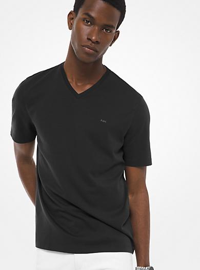 T-Shirt in cotone con scollo a V by Michael Kors