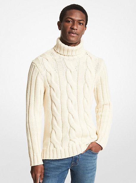 MK Pull à col roulé en laine mérinos à torsades - BLANC CASSÉ(NATUREL) - Michael Kors